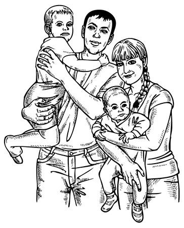 네 행복한 가족의 이미지. 종이에 그리기. 부모와 자녀.
