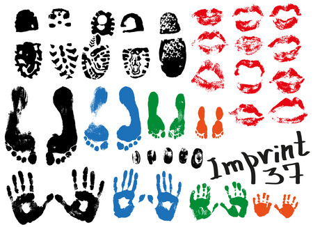 indentation: Image of various prints and footprints of adults, children and shoes.