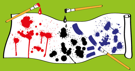 Preview blots traces of brush, spray paint made in different colors. Vector