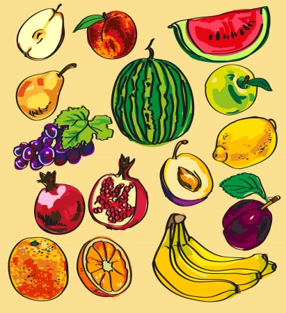 banana sheet: Preview numerous colored fruits and berries on a sheet of paper. Illustration