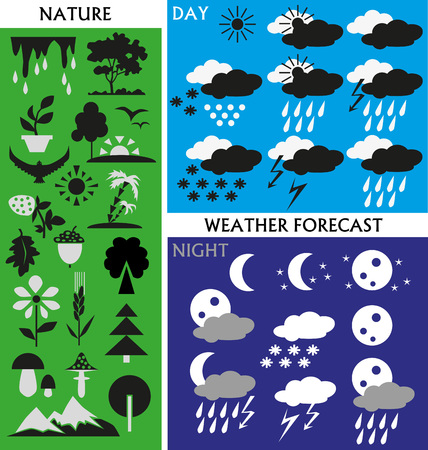 Image icons with the weather, day and night, and the elements of nature. Vector