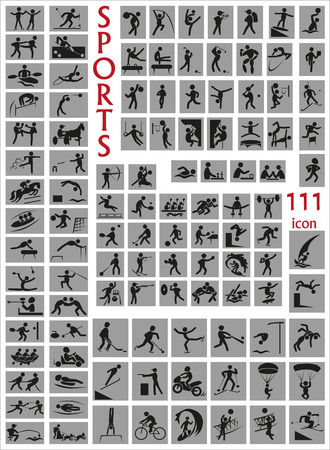 water skiing: Image of a large number of icons with razlitnymi sports. Illustration