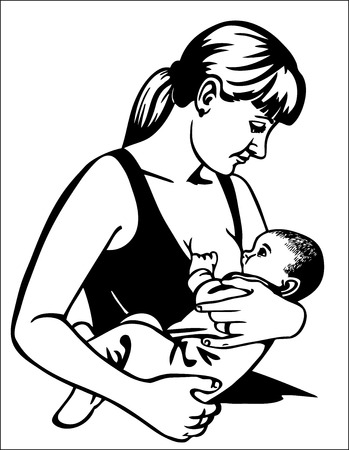 black breast: Picture of a mother who feeds her newborn baby  Drawing on paper  Illustration