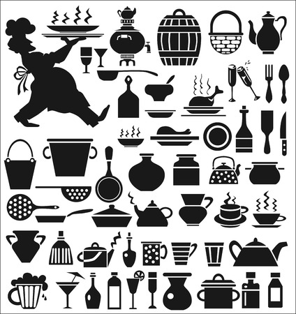 dinnerware: Image of various icons on a white background with the dishes  Chef carrying a tray
