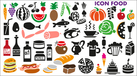 Image of various icons with food and drinks  Vegetables and fruit on white background  Vector
