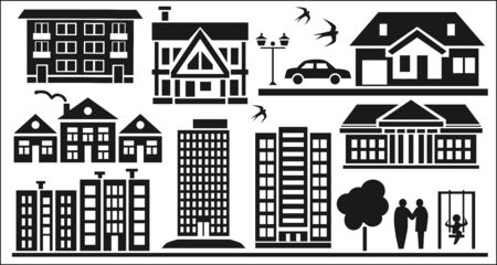 hypothec: Image of various icons to residential buildings silhouette on a white background  Illustration