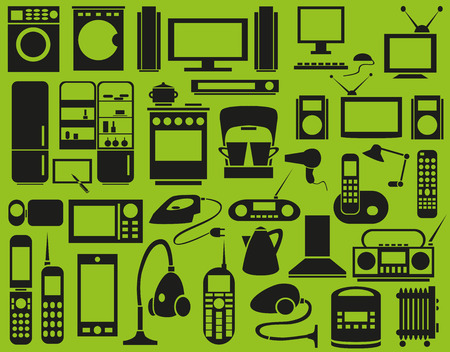 vcr: Image of various household appliances icons on a green background