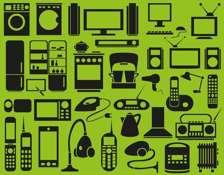 microwave antenna: Imagen de varios aparatos electrodom�sticos del vector en un fondo verde Vectores