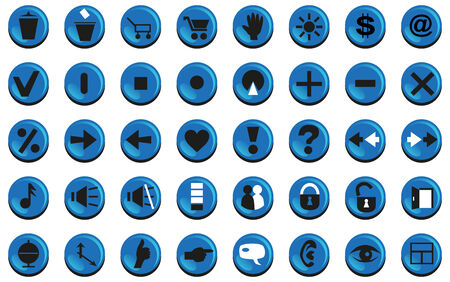 blue buttons: Image icons with blue buttons for computer and websites.