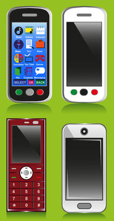 Image of three different phones in different colors and with the menu. Vector