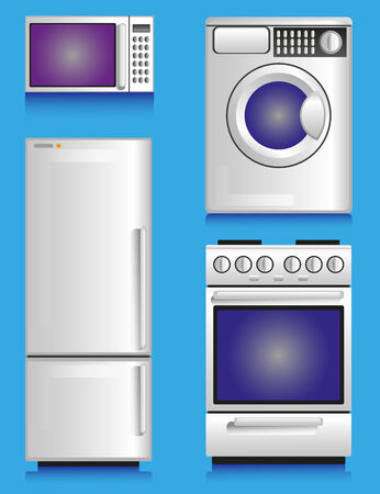 invented: Image of white household appliances: fridge, microwave, gas stove, washing machine. There does not exist a model technology, and invented new ones. Illustration