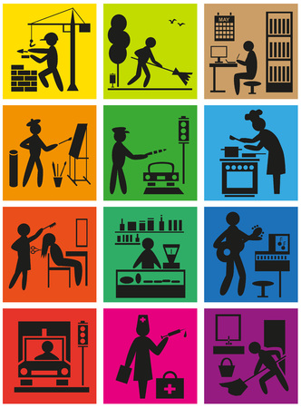 Image icons with different types of professions in the colored rectangles.