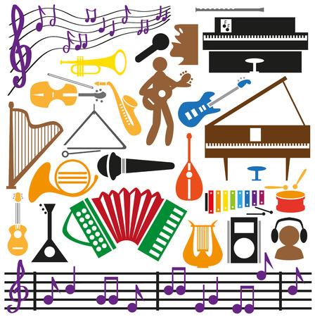 음악 intstrumentami, 노트, 음악가 회로도 이미지 아이콘.