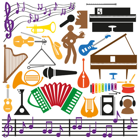 Image icons with music intstrumentami, notes, musicians schematic. Vector