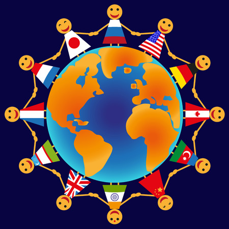 Picture holding hands people of different countries around the globe  Vector