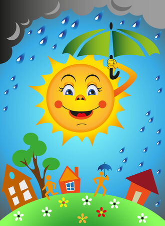 Sun under an umbrella. Rain. Earth with people and houses. Vector