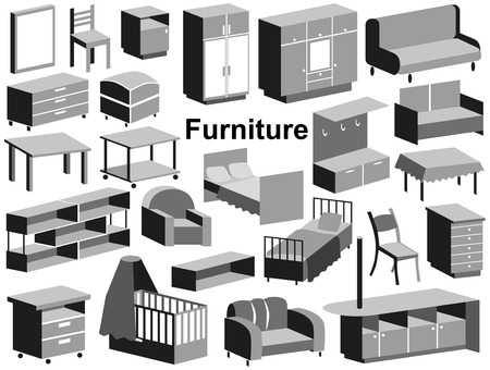 upholstered: Image icons with upholstered furniture on a white background.