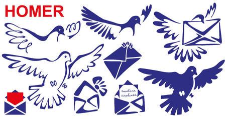 부리와 다리에 해당 메일 홈런 편지. 양식에 일치시키는 새.