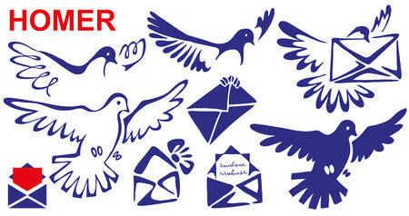 homer: Preview mail homer letter in its beak and legs. Stylized bird.