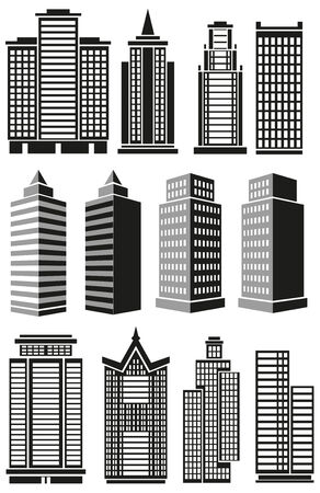 prospects: Image of black high-rise buildings and facades of buildings prospects.