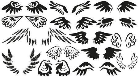 eden: Bildkollektionen schwarzen Fl�geln in verschiedenen Formen auf wei�em Hintergrund.