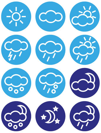 coldly: Image with different weather icons in blue circles.
