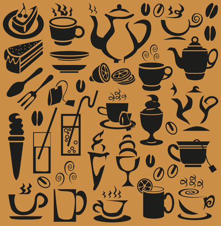 Preview of icons on a brown background with cups, ice and glasses  Vector