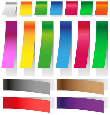 elongated: Image colored stickers with elongated shadows on white background