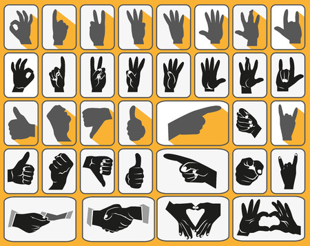 Image of black icons with human hands gesturing. Vector