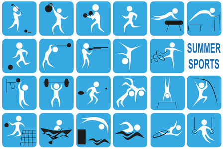 White image icons with summer activities port on a blue background. Vector