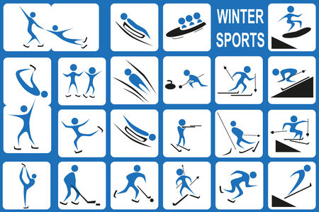 bobsleigh: Image of blue icons with winter activities port on a white background.