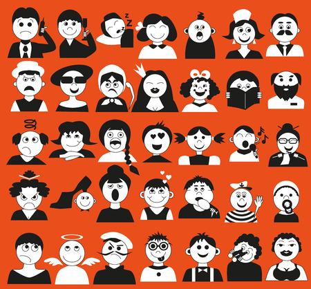greybeard: Icone della fotografia di persone di diverse et� e emotsiina sfondo arancione.