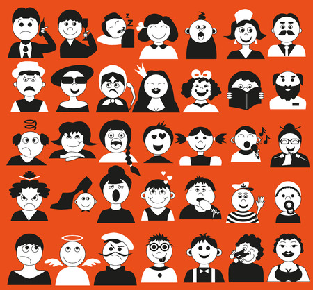 henpecked: Image icons of people of different ages and emotsiina orange background. Illustration