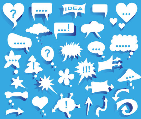 thoughtfulness: image icons with white thoughts on blue background.