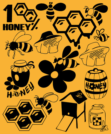 apiculture: Preview icon black bees, honey, beekeeping attributes.