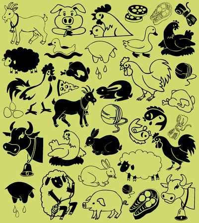 image of black icons of farm animals and natural products. Vector