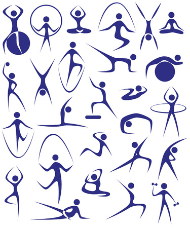 Image of blue icons with silhouettes of girls involved in sports. Vector