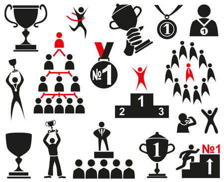 Image of black icons on a white background with the attributes of a leader and a winner.