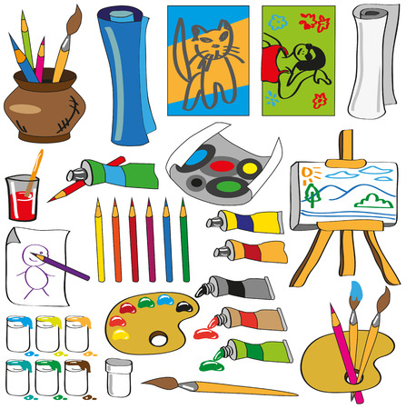 Image of various attributes of art on a white background. Vector