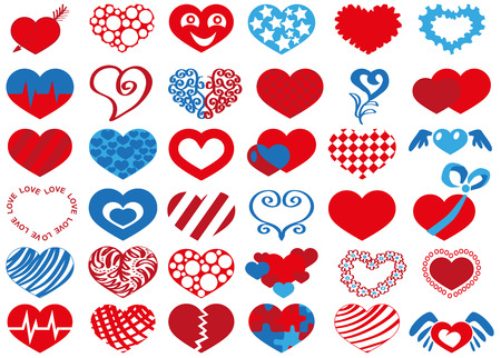 Image icons in heart shape on white background. Vector