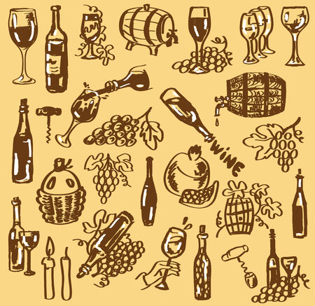 bung: Figure bottles with wine, barrels and wine glasses on a beige background.