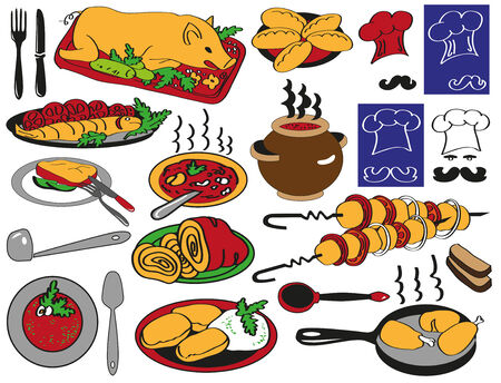 borscht: Preview restaurant food on the plates, dishes, toque, serving. Illustration