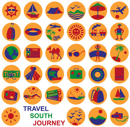 wandering: Preview icon in a circle with the theme ideal travel and tourism. Illustration