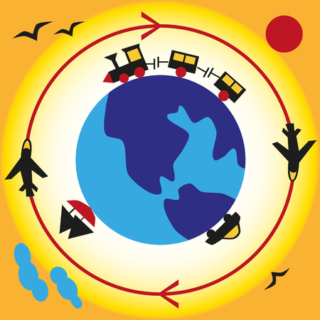 wandering: Image of the globe around which the airplane is flying, train rides, car, sailing ship. Illustration