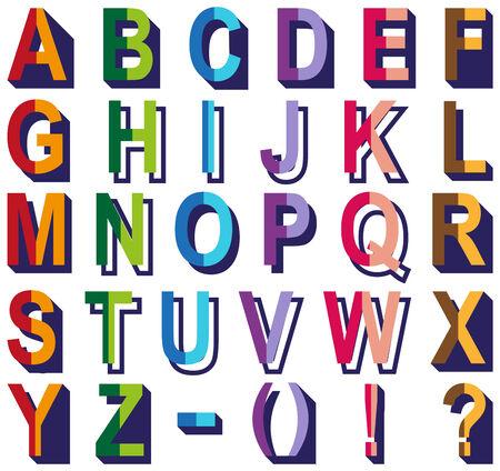 hyphen: Anteprima dell'alfabeto inglese e segni di punteggiatura su uno sfondo bianco.