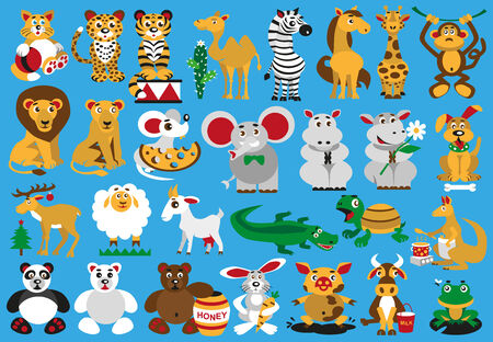 Collection funny wild and domestic animals on blue background. Vector