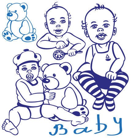 beanbag: Figure with young children and a teddy bear.