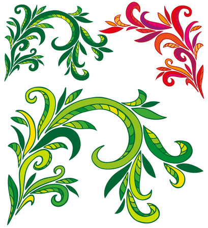 formalization: Preview vegetable winding ornament on a white background in various forms.