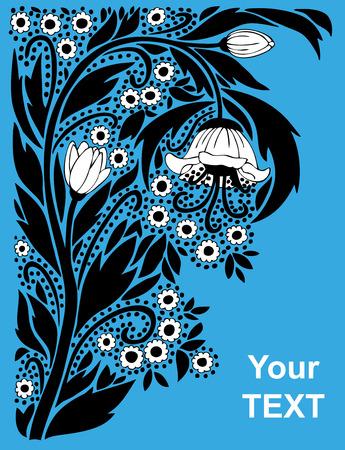 creeping: Figura rastrero vintage ornamento vegetal sobre un fondo azul.