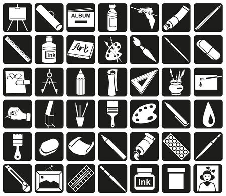 white icons attribute art and stationery in black rectangles.